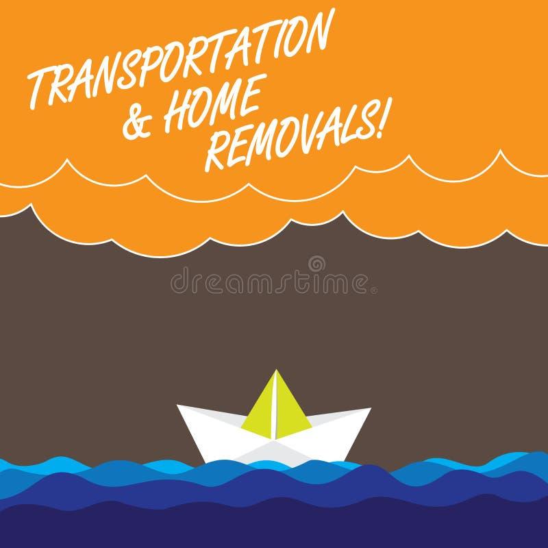 Remoções do transporte e da casa do texto da escrita Conceito que significa nuvens pesadas de envio móveis da onda da casa nova d ilustração royalty free