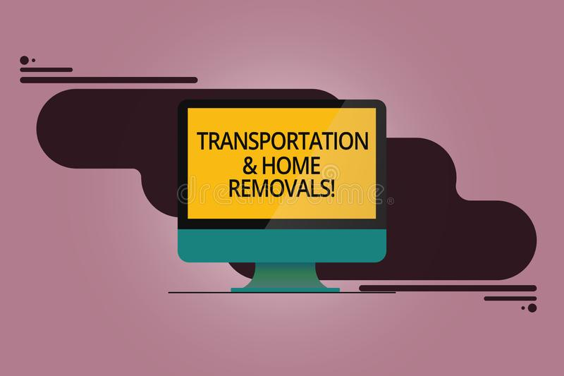 Remoções do transporte e da casa do texto da escrita Conceito que significa o computador montado de envio móvel da casa nova dos  ilustração stock