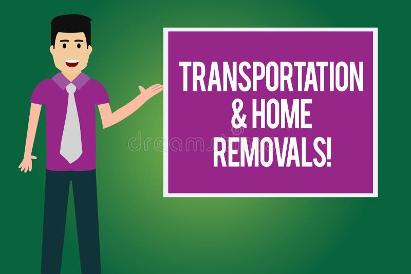 Remoções do transporte e da casa do texto da escrita Conceito que significa o homem de envio móvel da casa nova dos pacotes com l ilustração do vetor