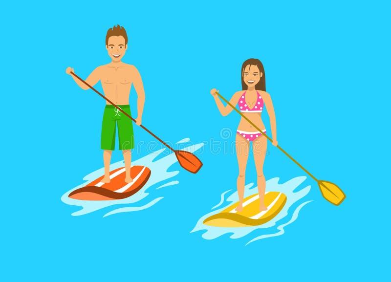 Remo do srand do homem e da mulher acima, paddleboarding na água ilustração stock