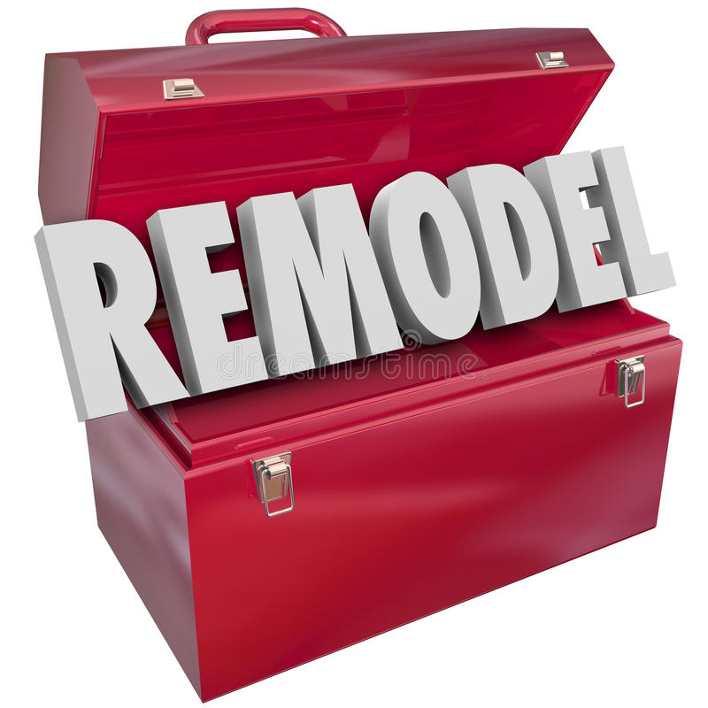 Remodel Red Metal Toolbox Building Construction Improvement Proj stock illustration