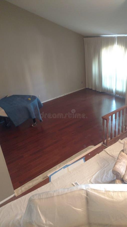 Remodeling. Flooring remodel hardwood houseflip royalty free stock image