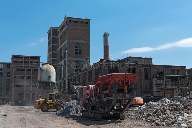 Remodeling and partial demolition of a former paper mill, cellulose factory hattersheim am main-okriftel, germany. royalty free stock images