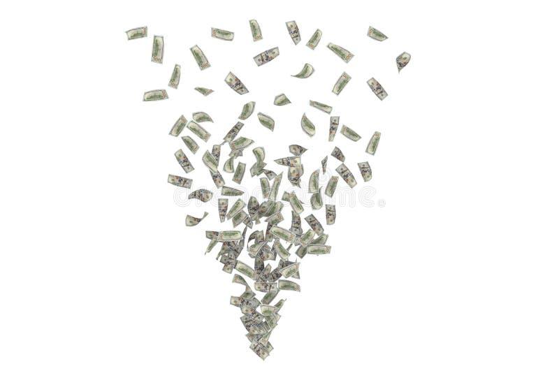 Remoinho da rendição das notas de dólar que formam o triângulo, isolado no fundo branco foto de stock royalty free