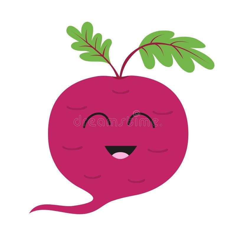Remolacha con el icono de las hojas Remolachas rojas Colección vegetal Comida sana de la granja fresca Cara sonriente Personaje d libre illustration