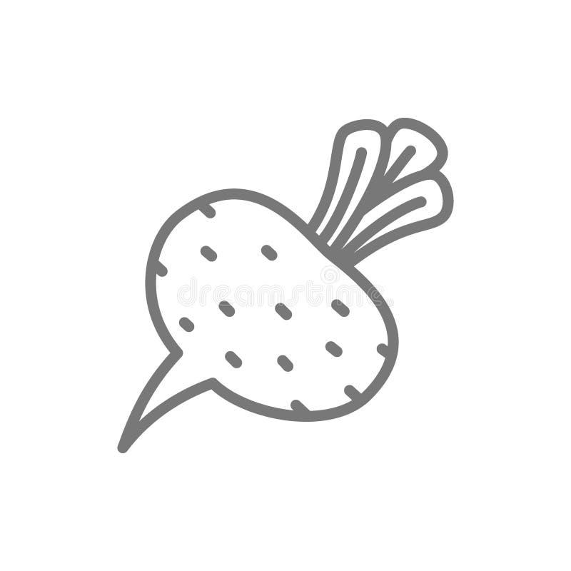 Remolacha, remolacha, l?nea vegetal icono ilustración del vector
