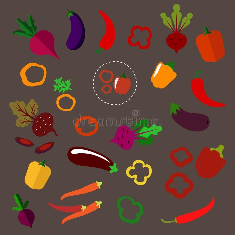 Remolachas, berenjenas, chile y paprikas planos libre illustration
