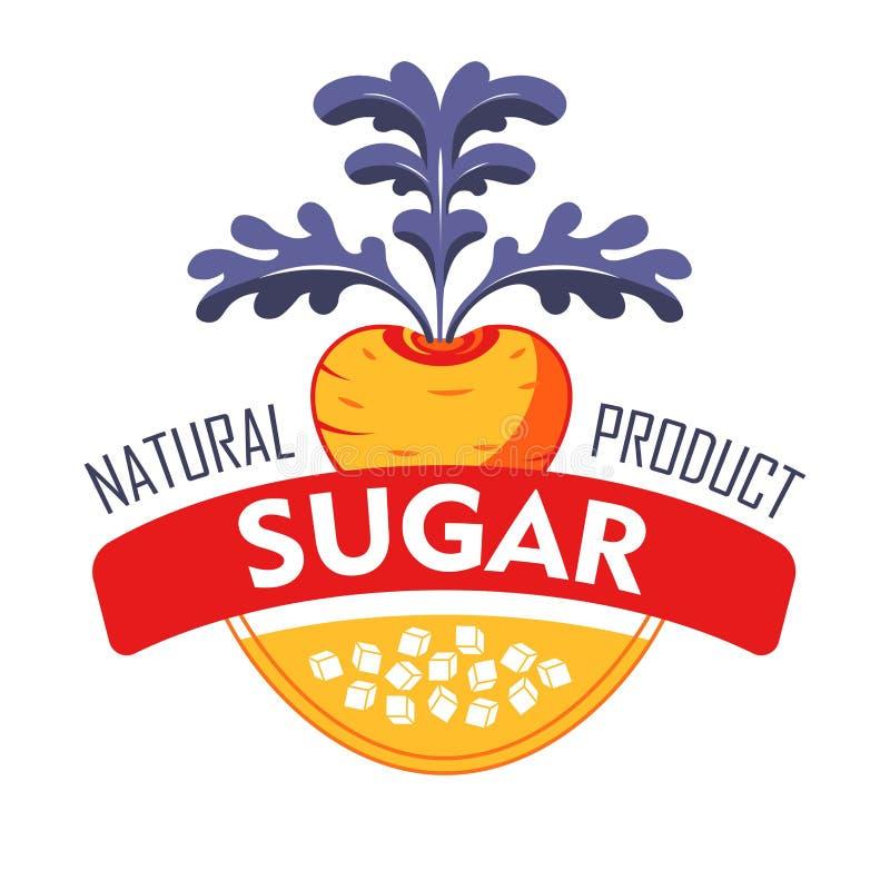 Remolachas naturales del producto del azúcar y cubos del edulcorante hechos de verdura stock de ilustración