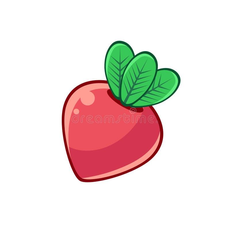 Remolachas rojas con las hojas, icono infantil aislado resumido del alimento para el diseño de juego de destello o máquina tragap ilustración del vector