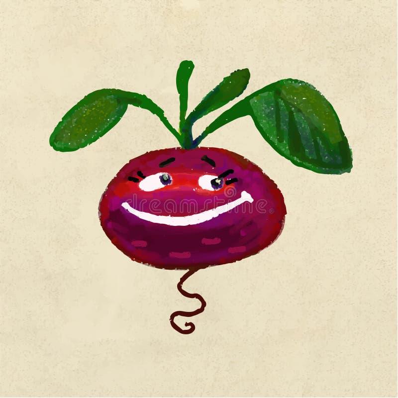 Remolachas vegetales alegres y felices de la raíz stock de ilustración