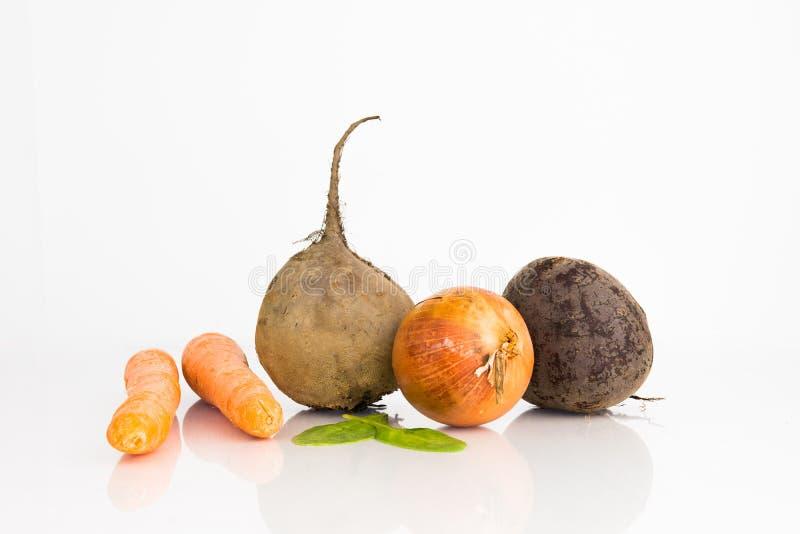 Remolachas, zanahorias y cebolla foto de archivo libre de regalías