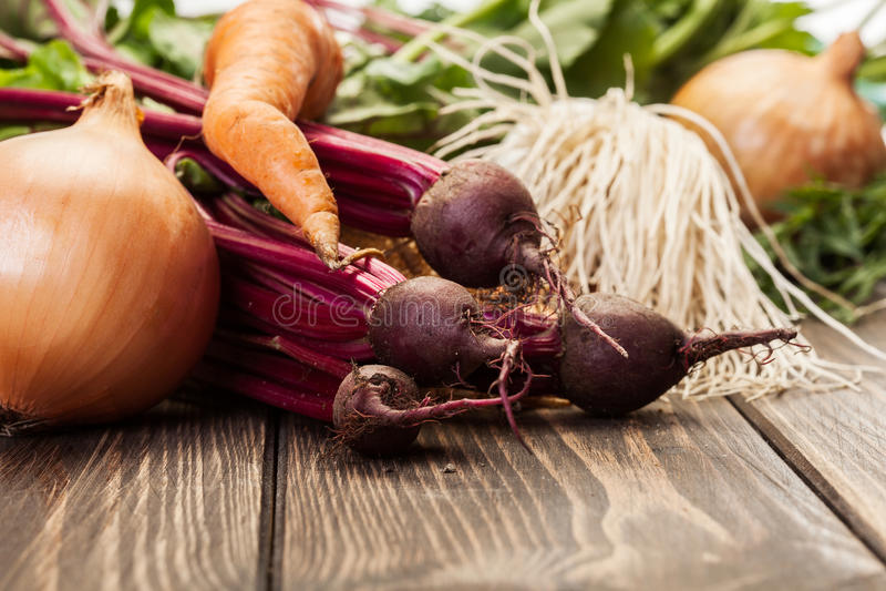 Remolachas, zanahorias y puerro imagen de archivo