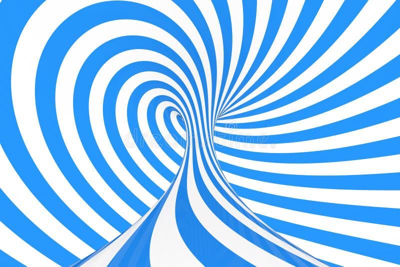 Remolina el ejemplo óptico de la trama de la ilusión 3D Ponga en contraste las rayas espirales azules y blancas Imagen geométrica fotografía de archivo
