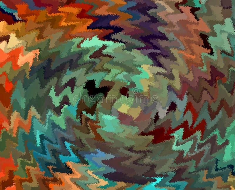 Remolino caótico multicolor del zigzag del extracto de la pintura de Digitaces en fondo rústico de los colores ilustración del vector