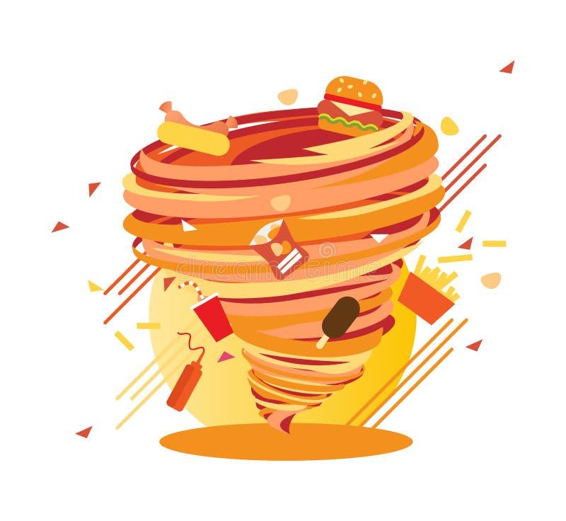 Remolino de Junk Food, calorías enojadas de huracán, ejemplo del vector libre illustration