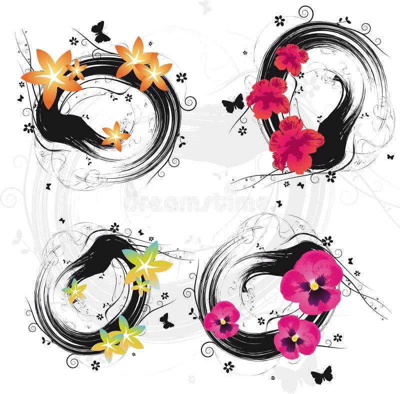Remolino de la flor de Grunge stock de ilustración