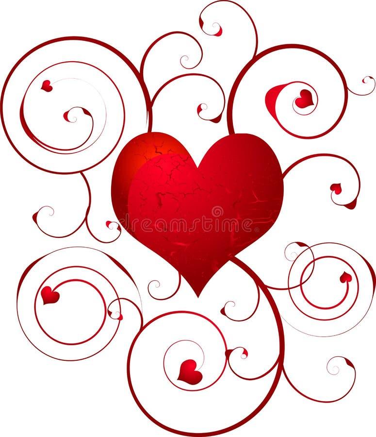 Remolino del corazón del amor ilustración del vector
