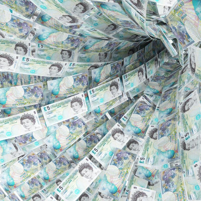 Remolino del dinero de cinco libras stock de ilustración