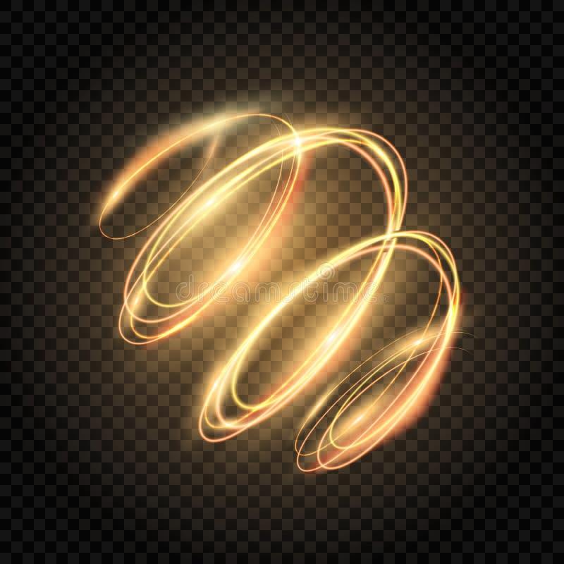 Remolino del oro del resplandor Líneas espirales brillantes efecto Giro de oro ligero Rastro del brillo que brilla intensamente R stock de ilustración