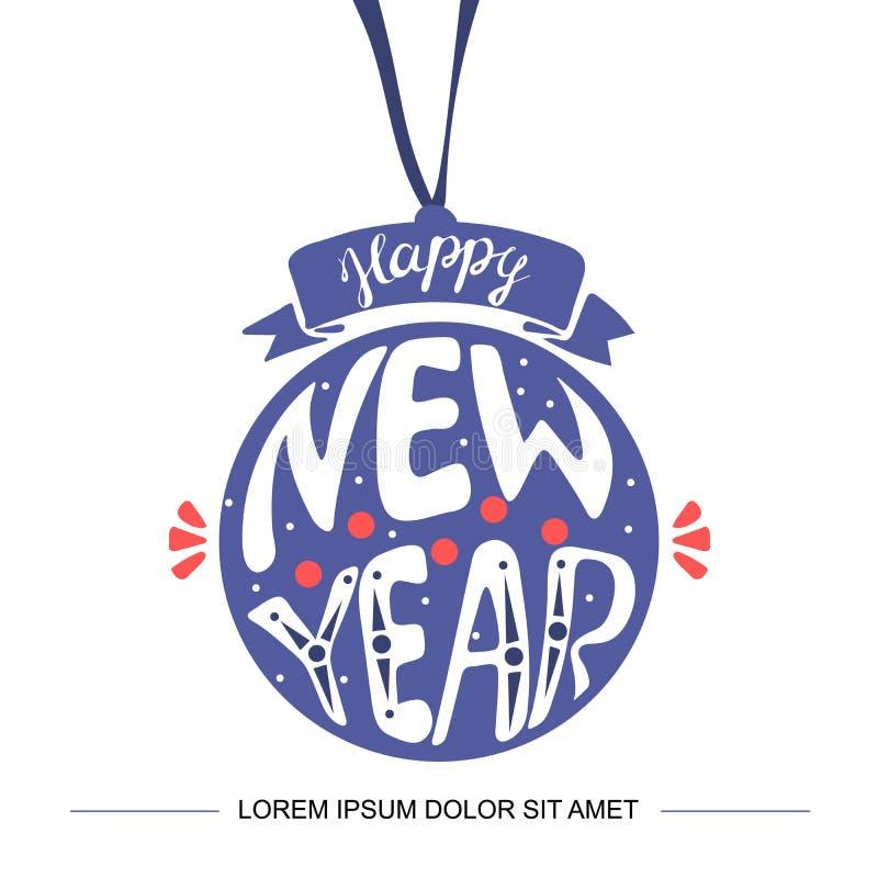 Remolino manuscrito de la Feliz Año Nuevo 2019 que pone letras en tarjeta de felicitación en formas de las bolas de la Navidad co stock de ilustración
