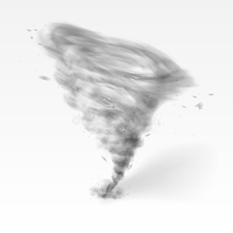 Remolino realista del tornado aislado en el fondo blanco foto de archivo libre de regalías