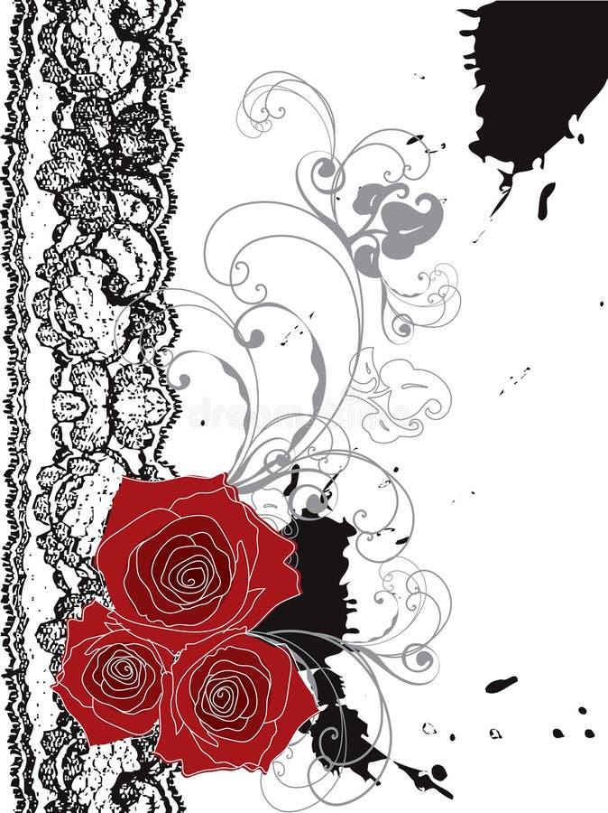 Remolino rojo de las rosas y del cordón de la tarjeta del día de San Valentín ilustración del vector