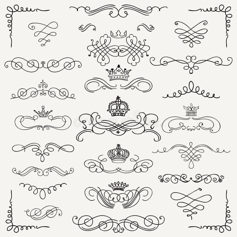 Remolinos dibujados mano negra y coronas del vintage del vector ilustración del vector