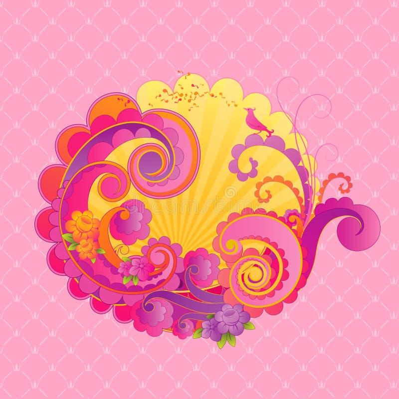 Remolinos dulces del color de rosa. stock de ilustración