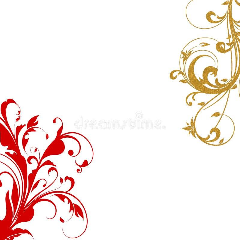 Remolinos rojos del flourish del oro ilustración del vector
