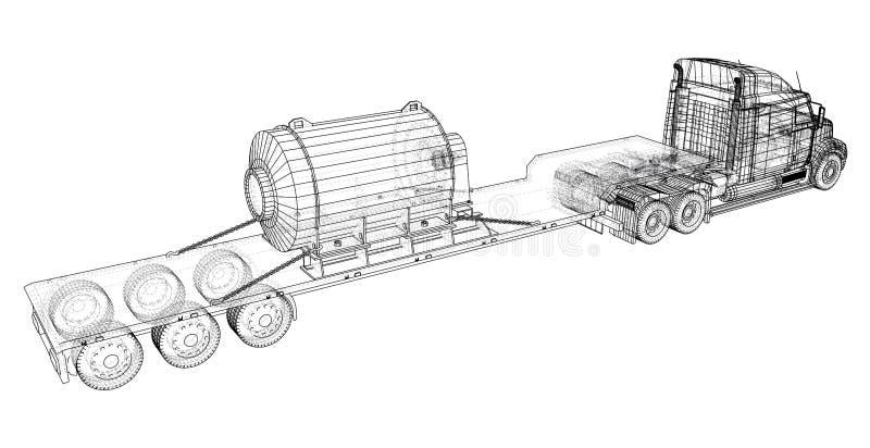 Remolque bajo del camión de la cama Gráfico abstracto Vehículo de cargo Ejemplo de trazado de 3d stock de ilustración