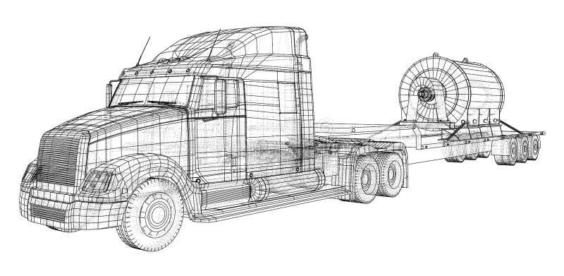 Remolque bajo del camión de la cama Vehículo de cargo Alambre-marco Formato EPS10 Representación del vector de 3d ilustración del vector