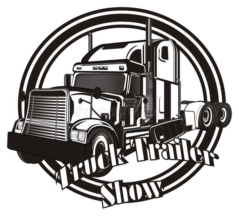 Remolque blanco y negro con el icono del rounc stock de ilustración