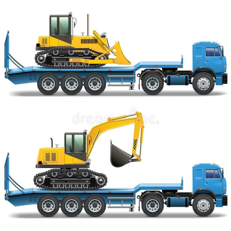 Remolque del vector con el tractor ilustración del vector