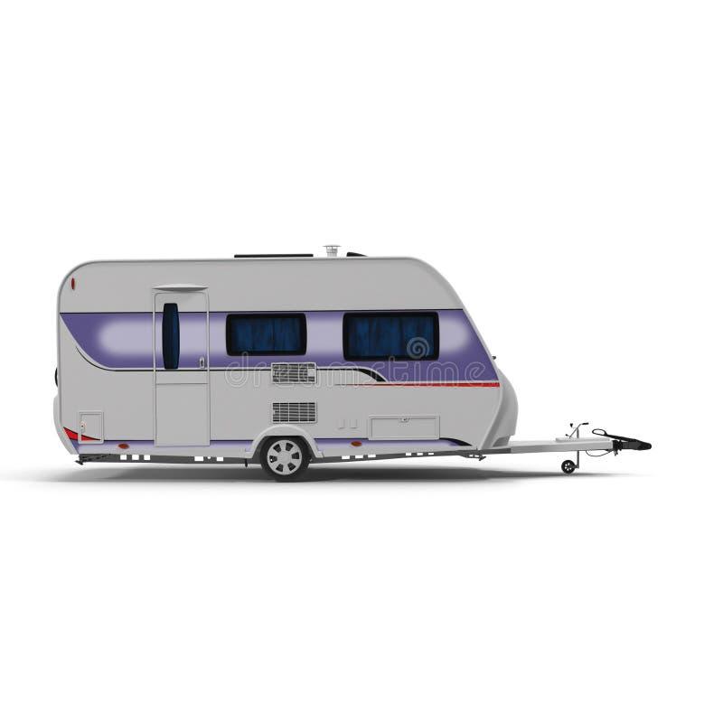 Remolque el dormir de la caravana aislado en blanco Vista lateral ilustración 3D ilustración del vector