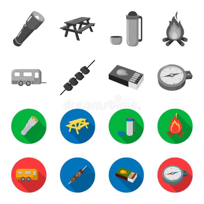 Remolque, kebab, partidos, compás Iconos determinados de la colección que acampan en la acción monocromática, plana del símbolo d libre illustration