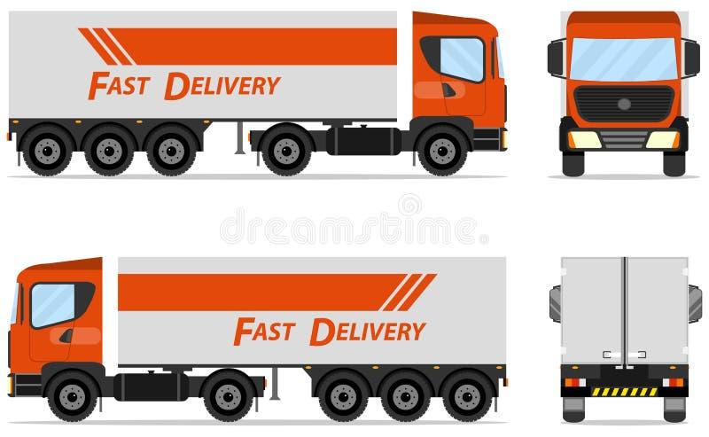 Remolque moderno del camión del cargo Camión realista vista delantera; vista lateral; visión trasera Plantilla del remolque del c libre illustration