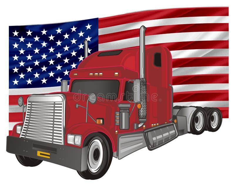 Remolque y bandera stock de ilustración
