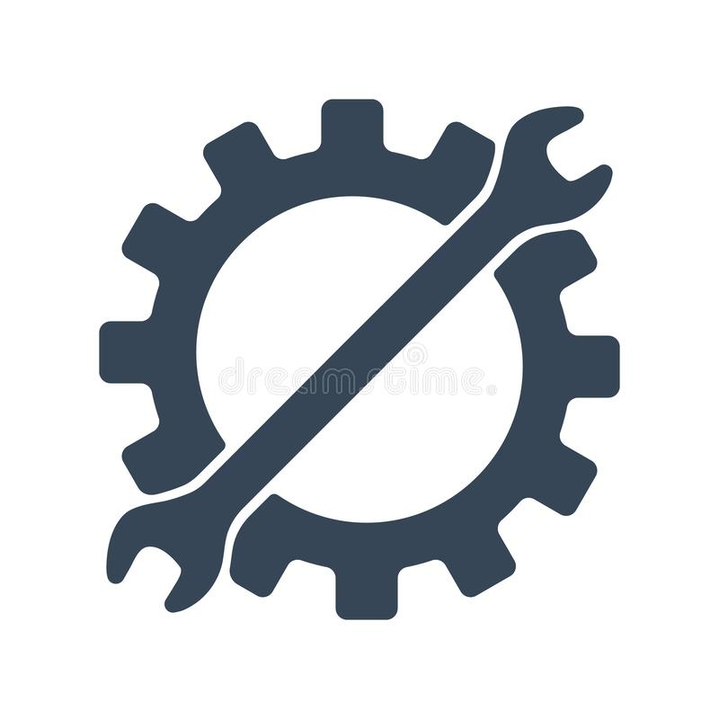 Remontowa ikona Przekładnia i wyrwanie Kreatywnie graficznego projekta loga element Wektorowa ilustracja odizolowywająca na biały ilustracji