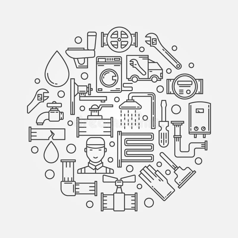 Remontowa instalaci wodnokanalizacyjnej ilustracja ilustracji