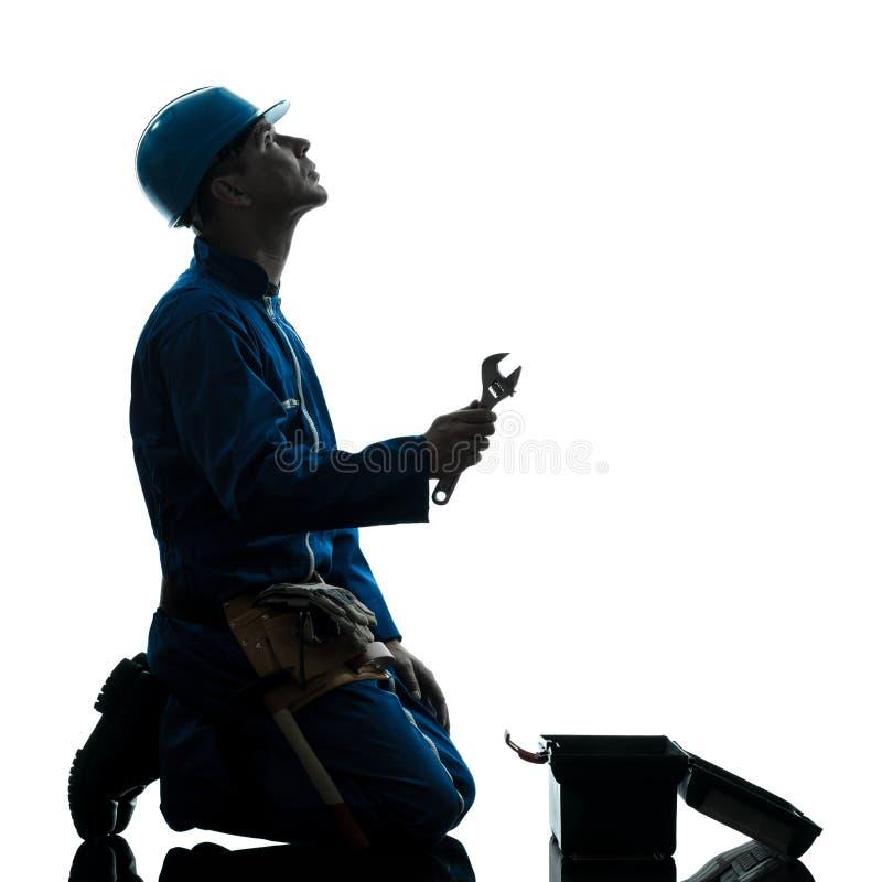 Download Remontowa Mężczyzna Pracownika Rozpacza Modlenia Sylwetka Obraz Stock - Obraz złożonej z śmieszny, utrzymanie: 53779833