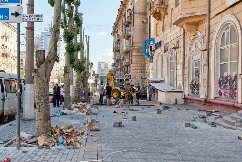 Remontowa praca na ulepszeniu Środkowe ulicy cit obrazy royalty free