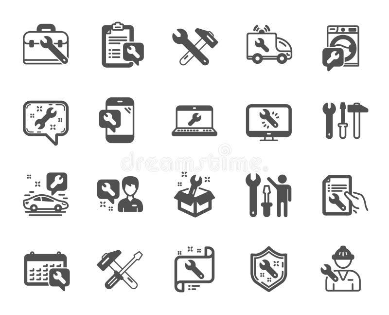 Remontowe ikony Set młota, śrubokrętu i Spanner narzędzie, wektor royalty ilustracja