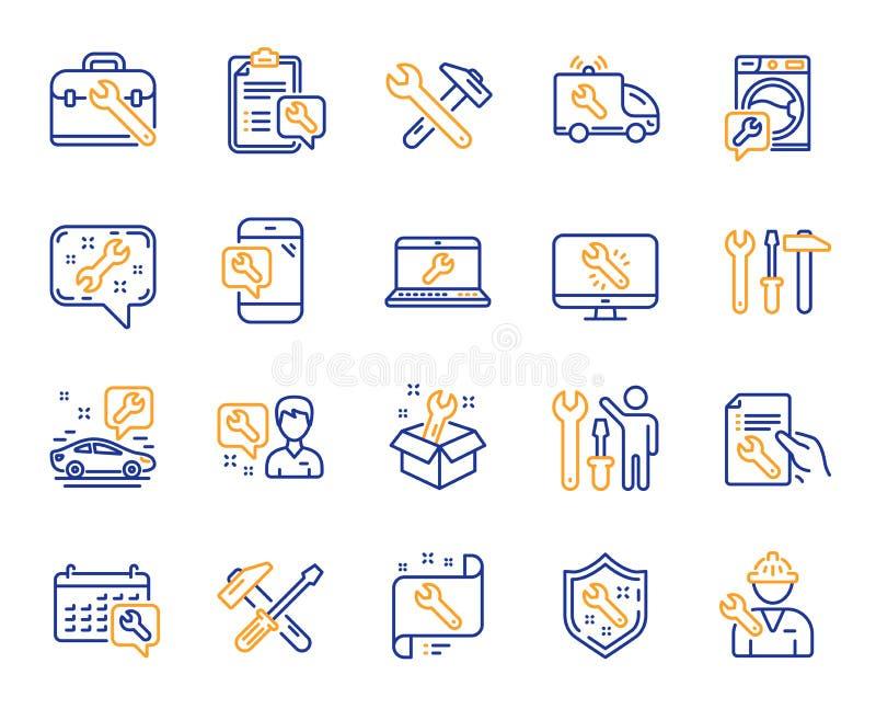 Remontowe kreskowe ikony Set młota, śrubokrętu i Spanner narzędzie, wektor ilustracja wektor