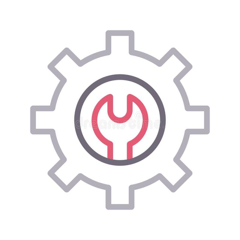 Remontowego położenia koloru wektoru cienka kreskowa ikona royalty ilustracja