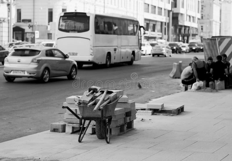 Remontowy brukowanie na Tverskaya ulicie, Moskwa obraz royalty free