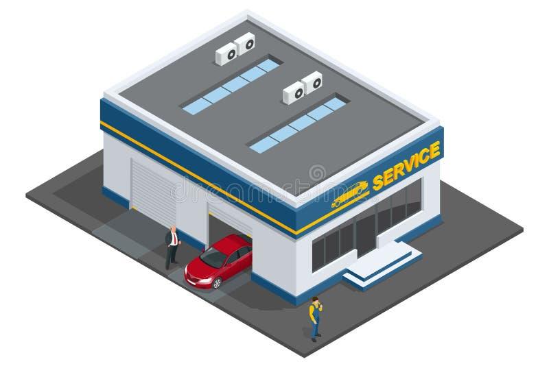 Remontowy garaż, Auto mechanika usługa, utrzymanie samochodu działanie, naprawa, auto silnik naprawa, mechanik i samochód i, ilustracja wektor