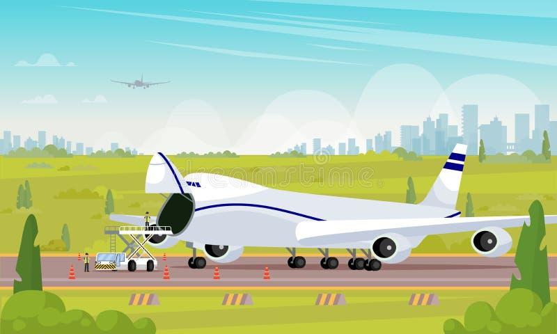 Remontowy samolot w parking mieszkania ilustracji ilustracji