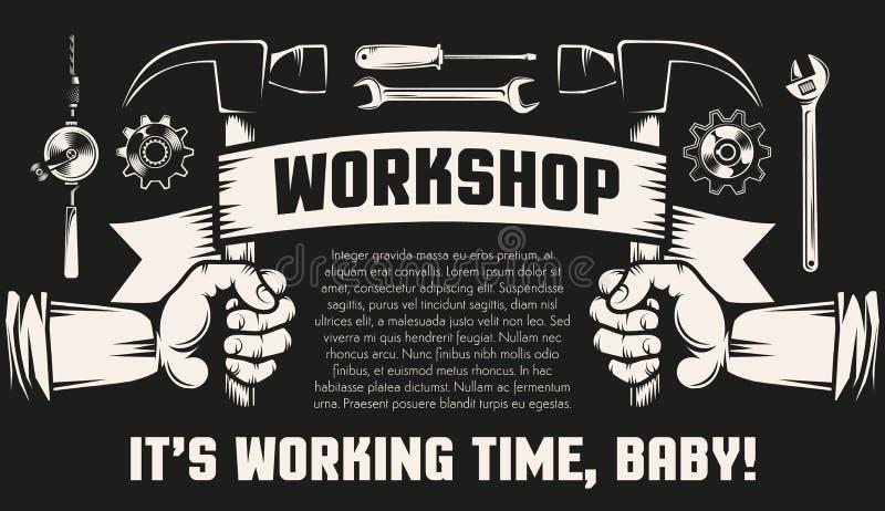 Remontowy warsztat z rękami i pracującymi narzędziami ilustracji
