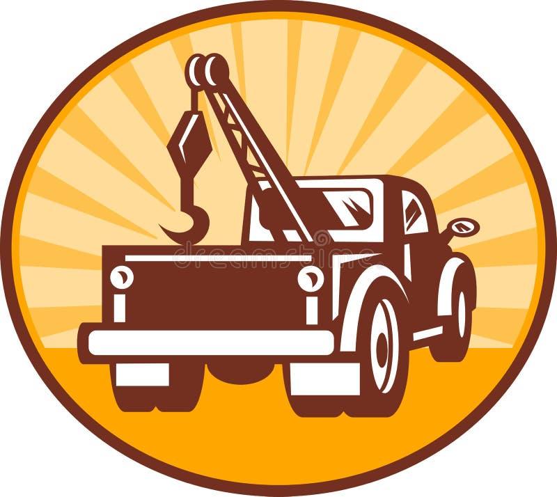 Remorquage ou vue arrière de camion de naufrageur illustration stock