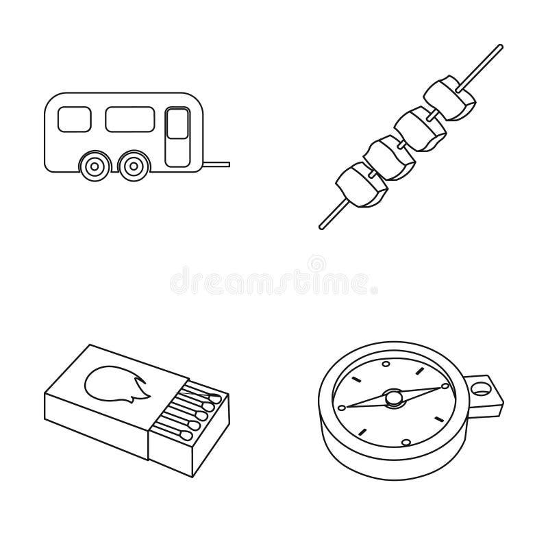 Remorque, chiche-kebab, matchs, boussole Les icônes réglées campantes de collection dans le style d'ensemble dirigent l'illustrat illustration libre de droits